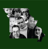 The Missouri Greenbook: Living with Brain Injury (Graphic of state of Missouri with people's faces inside)